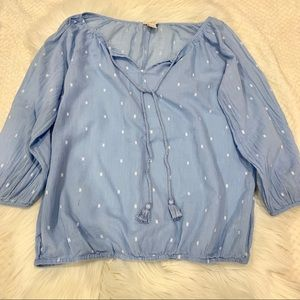 J Crew Baby Blue Peasant top XS